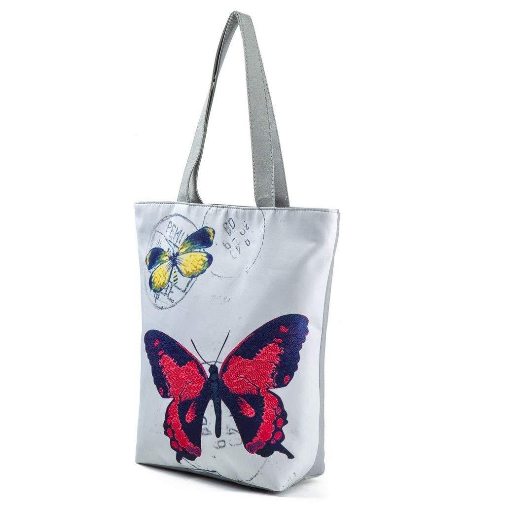 HLD blommigt tryck strandväska etnisk stil axelväska för kvinnor handväska messengerväskor (färg: C) D