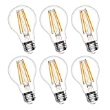 Vintage LED Edison Bulb Dimmable 6W A19 LED Light Bulbs 2700K Soft White 600LM Led Filament Bulb 60W Incandescent Equivalent E26 Medium Base Decorative Clear Glass for Home, Restaurant, Cafe, 6 Pack