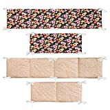 Brandream Crib Bumper Sets for Girls Vintage Crib Bumpers Pads 4 Piece Girls Bedding Crib Sets Organic Cotton Floral Nursery Bedding Black and Coral, Shabby and Rustic Style