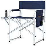 Giantex Folding Director's Chair Side Table Aluminum Frame Storage Bag Outdoor Camping Fishing Portable Directors Chair W/Cup Holder (Navy Blue)