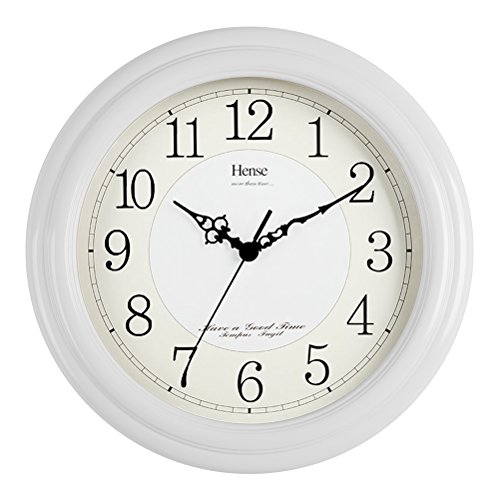 Quartz Mute Wall Clock (HENSE 13-inch Large Solid Platane Wood Wall Clock Living Room Modern Clock Mute Simple Quartz Clock with Big Arabic Numerals and Fine Texture HW13 (HW13 #B-W))