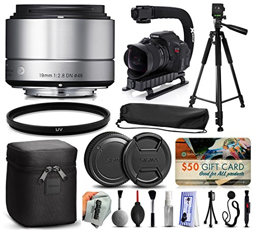 Sigma 19mm F2.8 DN Art Silver Lens for Panasonic/Olympus Micro Four Thirds (40S963) + 60'' Tripod + Action Video Stabilizer + UV Filter + Deluxe Cleaning Set + Lens Brush + Cap Keeper by 47th Street Photo