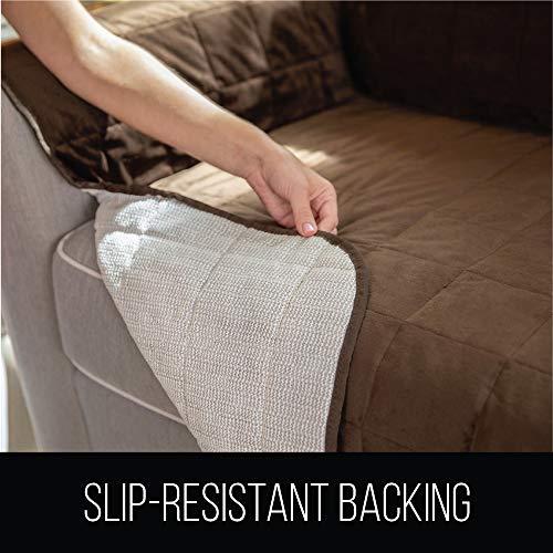 "Gorilla Original Velvet Slip Resistant Sofa Protector, Seat Width to Patent Pending, 2"" Couch Cover Dogs"
