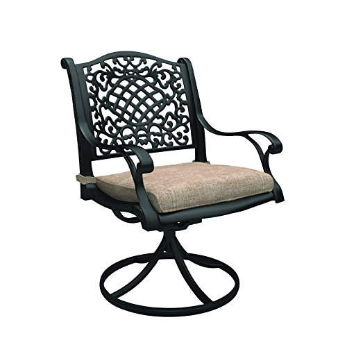 Ashley Furniture Signature Design - Rose View Outdoor Swivel Chair - Set of 2 - Intricate Design - Brown (High Cushions Clearance Patio Back Chair)