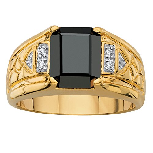 Men's Emerald-Cut Genuine Black Hematite and Diamond Accent 18k Gold-Plated Etched Ring Emerald Hematite Ring