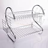 GSMV Kitchen Dish Cup Drying Rack Holder Sink Drainer 2-Tier Dryer Stainless Steel