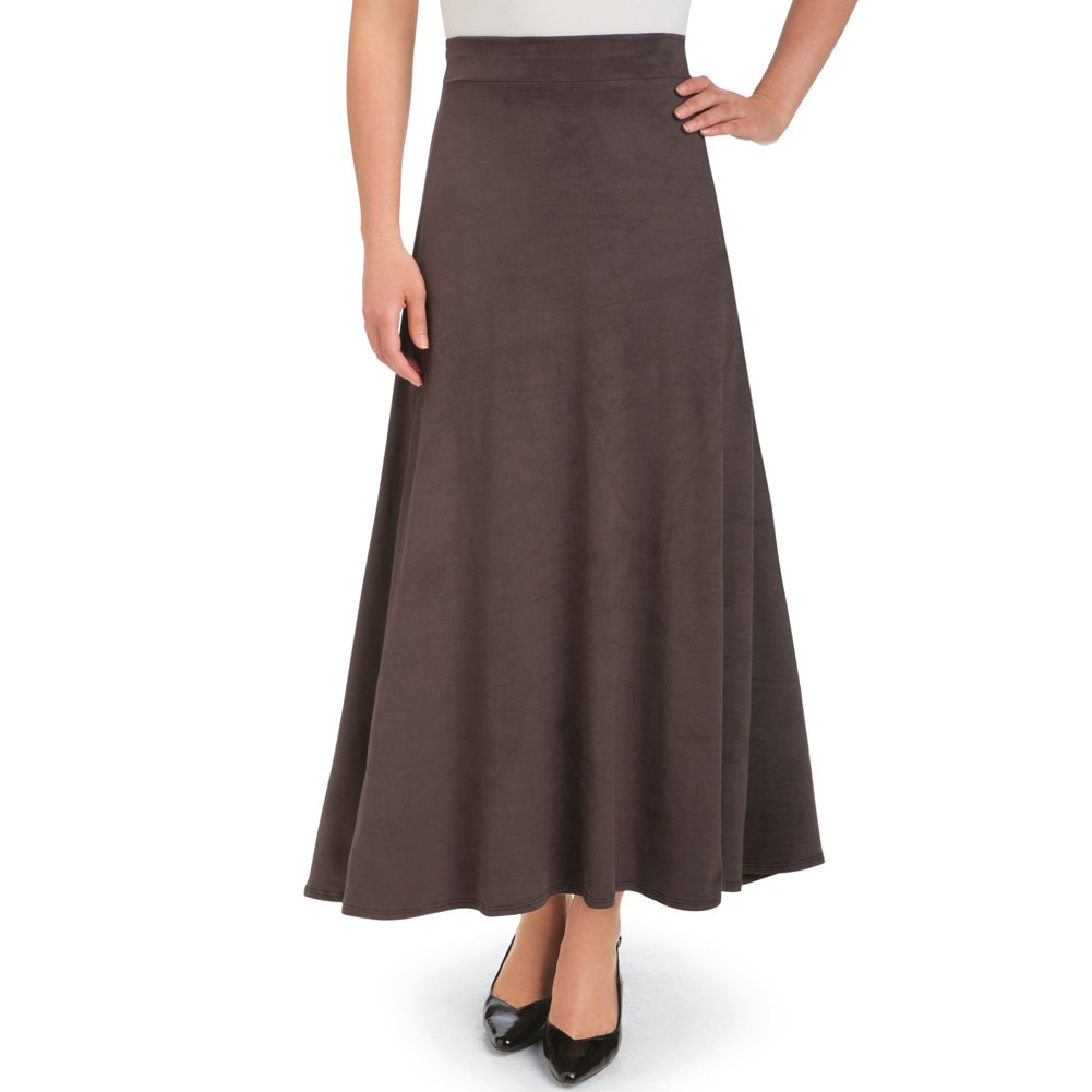 Women's Faux Suede A-Line Skirt, Chocolate, X-Large, Plus-Size - Made in The USA Collections Etc