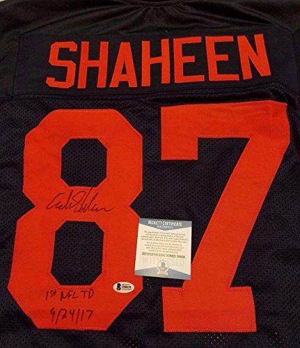 """ADAM SHAHEEN """"1ST NFL TD 9/24/17"""" AUTOGRAPHED THROWBACK JERSEY (BECKETT COA)"""