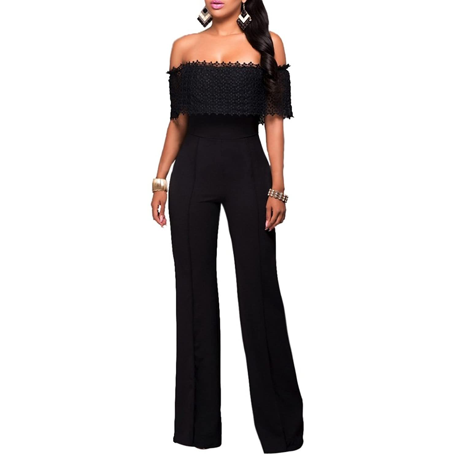 Riveroy Women's Off Shoulder Wide Leg Clubwear Party Jumpsuits Rompers Loose Pants