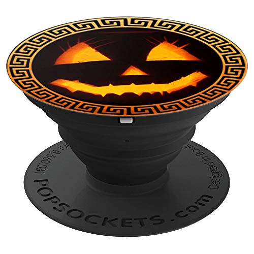 funny Halloween Smiley Jack O' Lantern Pumpkin Face - PopSockets Grip and Stand for Phones and Tablets -