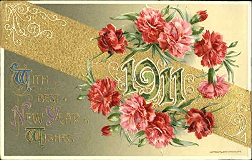 1911 With Best New Year Wishes New Year's Original Vintage Postcard
