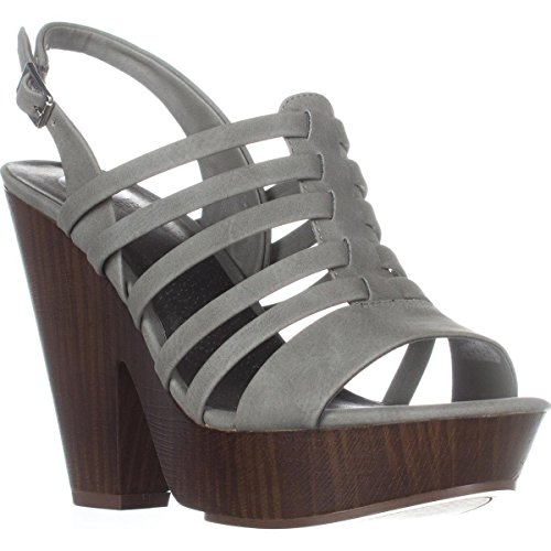 G by GUESS Womens seany2 Fabric Open Toe Casual Ankle Strap Platforms Sandals Grey Size 7.0 (Sandals Strap Ankle Guess)