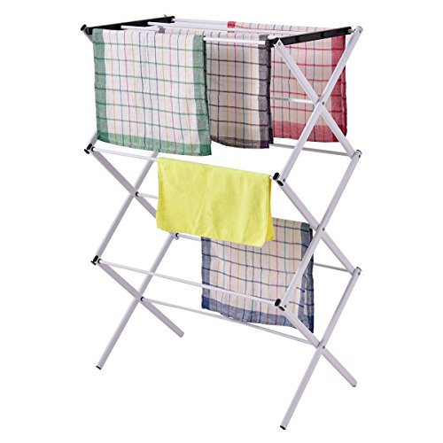 Foldable Clothes Storage Drying Rack Portable Metal Laundry