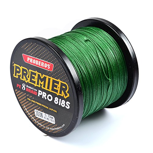 Pro Beros Braided Fishing Lines Super Strong Abrasion Resistant 6LB-100LB Moss Green (4Strands 8Strands) Saltwater/Freshwater Fishing