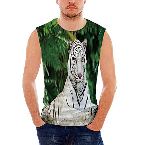 Mens Apparel Mens Triblend Blotter Tank Top Tiger,Albino Bengal Cat Sitting o