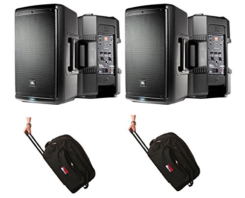2x JBL EON610 EON 610 1000 Watt Powered 10'' Active Speaker + Bag Case w/Wheels by JBL L