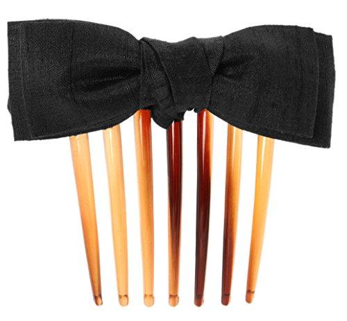(L. Erickson USA Blair Bow French Twist Comb - Silk Dupioni Black)