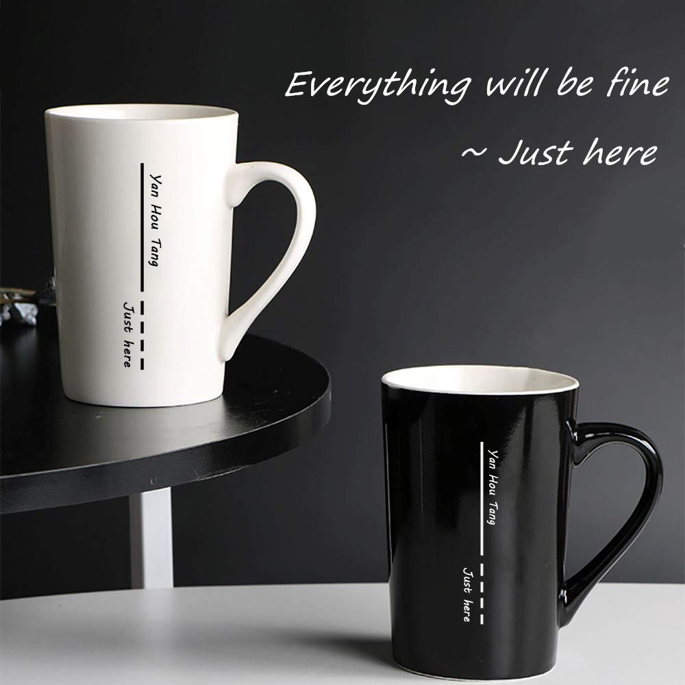 Yan Hou Tang 2 of Set Simple and Plain Solid Line Mug Cup Coffee Water Juice Beer Wine Tea Hot Cold - 380ml 13.5oz Serving Carving Crafts Style for Home Office Club Pup Party Drink Cheers white Black