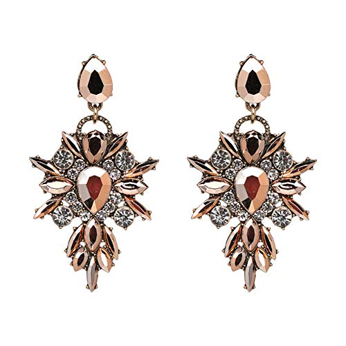 - SKYEARRING Colorful Flower Brand Charm Big Earring Luxury Starburst Pendant Crystal Gem Earrings