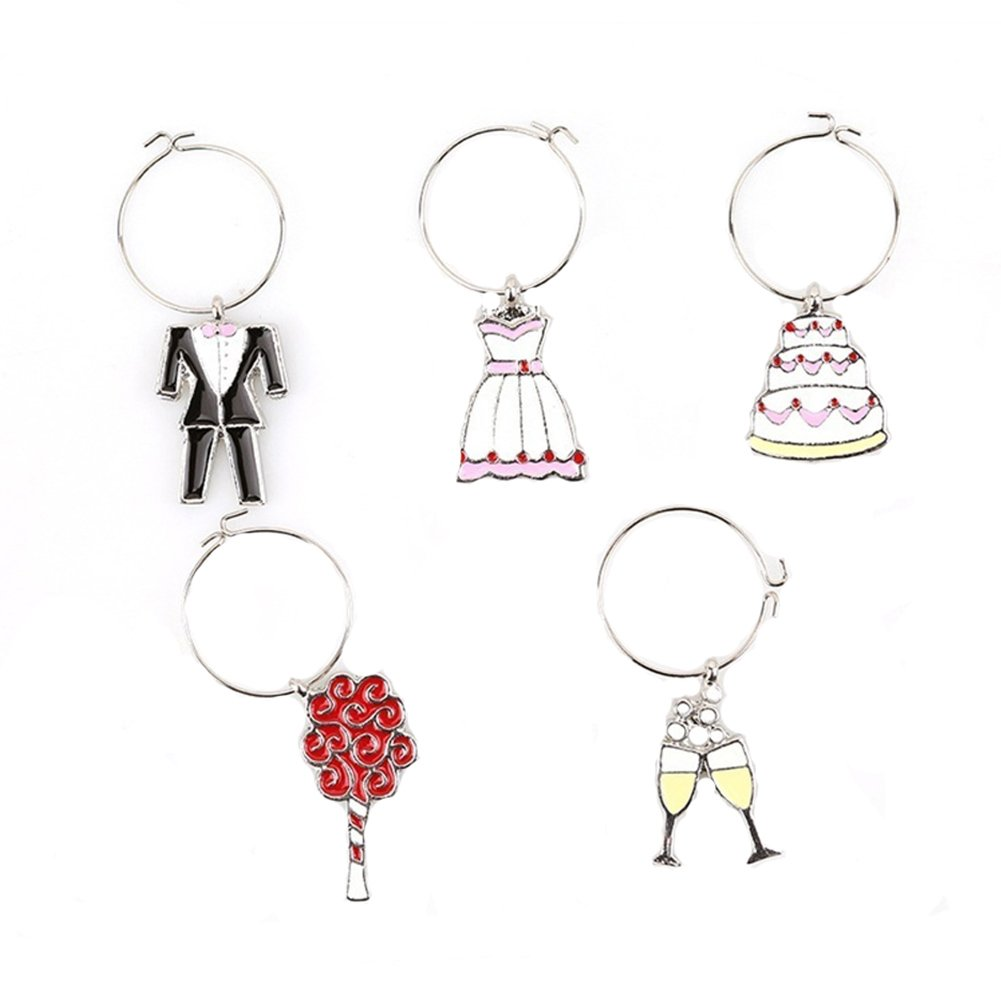 Wine Glass Charms Set of 5/6 Christmas Rings Makers Wine Glass Tags for Wedding Party Decorations (Wedding style)