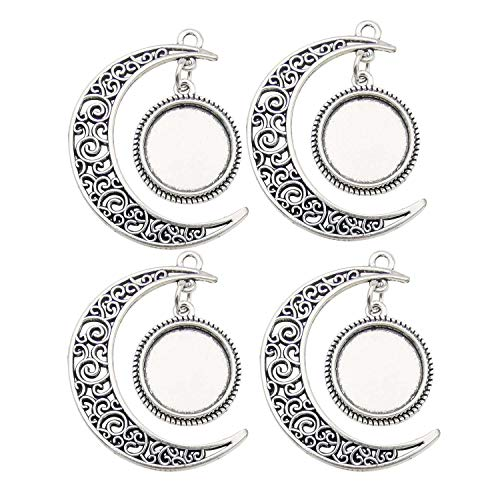 - Youdiyla 15 Sets, Big Moon Charms with 16mm Blank Bezel Tray, Silver Tone, Metal Pendant Craft Supplies Findings for Necklace and Bracelet Jewelry Making HM321