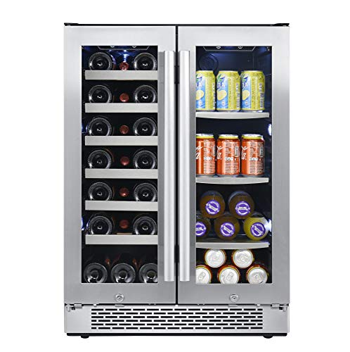 (Avallon AWBC241GGFD 24 Inch Wide 21 Bottle and 60 Can Capacity Built-In Wine and Beverage Cooler with French Doors)