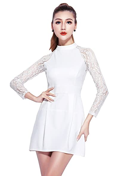 Beautifulmall 50% Promotions Elegant Long Sleeve Lace Slim Fit Evening Party Wedding White Dress For