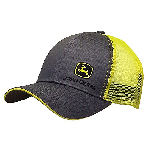 John Deere Grey with Yellow Mesh Backing Snapback Hat - 13080428CH00 ()