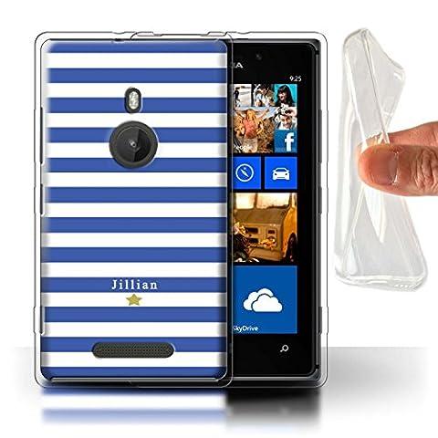 Personalized Custom Stripes/Striped Gel/TPU Case for Nokia Lumia 925 / Blue Stripe Star Design / Initial/Name/Text DIY (Nokia Lumia 925 Gel Cases Blue)