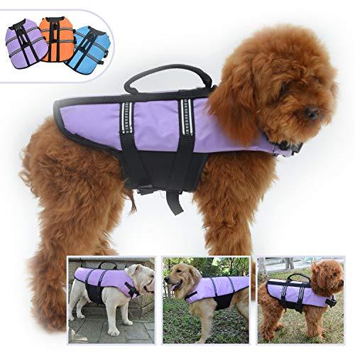 Lovelonglong Dog Lifejacket Life Jackets for Small Dogs Swimming Safe Boating Coat Dog Swim Protect Reflective Vest Pet Life Preserver Purple M
