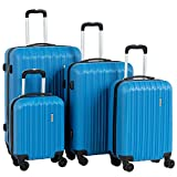 Murtisol 4 Pieces ABS Luggage Sets Hardside Spinner Lightweight Durable Spinner Suitcase 16' 20' 24' 28', 4PCS Blue