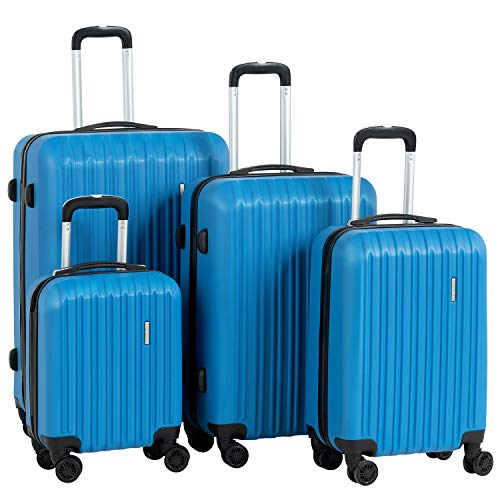 """Murtisol Travel 4 Pieces ABS Luggage Sets Hardside Spinner Lightweight Durable Spinner Suitcase 16"""" 20"""" 24"""" 28"""", 4PCS Blue"""