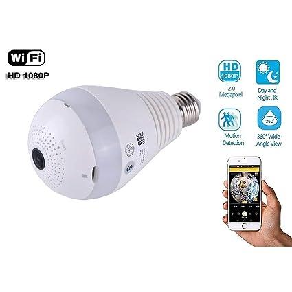 Spy Camara de VIGILANCIA 360 fisheye WiFi IP + SD 32gb Incluida | App en español ...