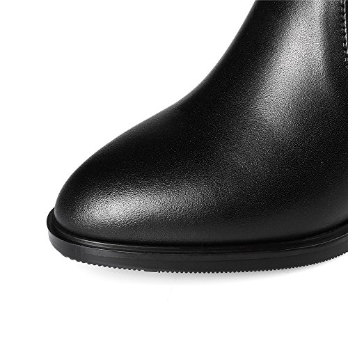 Genuine Boot High Rivets Dress Handmade Nine Women's Leather Style Toe Black Knee Heel Seven Pointed Block 56qUx4O