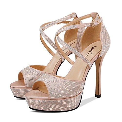 de Plataforma de Diamantes Sandalias de Femenina Aguja Color Desnudo de Sandalias Tacones Imitación Sw4zEqz