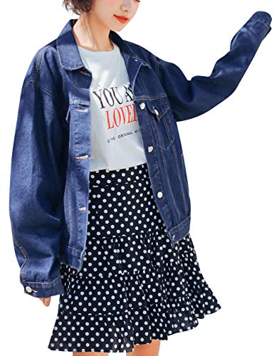 (KAMA BRIDAL Women's Boyfriend Denim Jackets Long Sleeve Oversized Loose Jean Coat Deep Blue M)