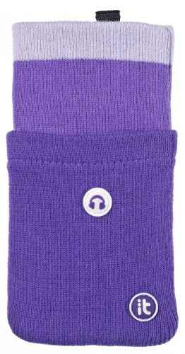 - Cover It Universal Pocket Sock with Earphone Holder for iPhone, iPod and MP3 - Purple