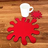 Super Cool Creations Splash Placemat And Coaster Set, Red Mirror - 4 Placemats and 4 Coaster - Standard