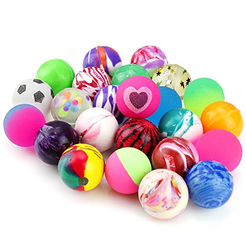 Pllieay 24 Pieces Jet Bouncy Balls 25mm Mixed Color Party Bag Filler for Children -