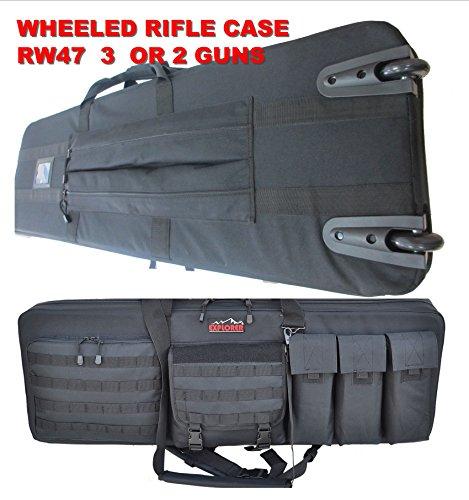 (Explorer Rolling 3-Rifle Case, Black, 46 x 13.5 x 4-Inch)