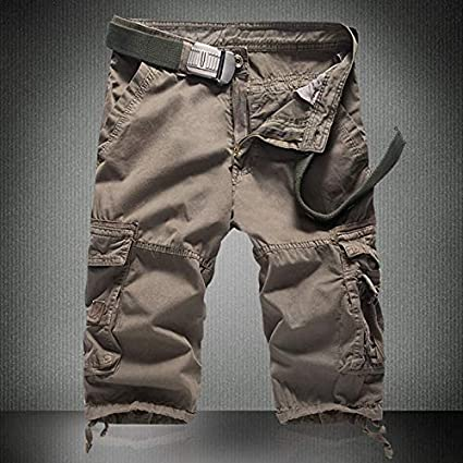 Manningll Mens Shorts Cargo Casual Pants Outdoor Workout Beach Trousers with Multi-Pocket Zipper