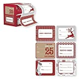 Arts & Crafts : Jumbo Self Adhesive Christmas Gift Tag Stickers Label 60 Count Modern Red, White, Silver, and Gold Xmas Designs - Easy To Use - Looks Great on Gifts Presents, Wrapping Paper and Gift Bags.