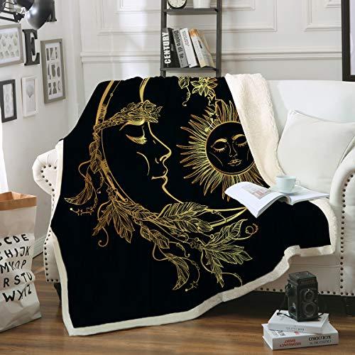 Sleepwish Celestial Blanket Boho Sun Moon Sherpa Fleece Blanket Black and Gold Soft Throw Blanket for Couch Sofa Bed Beach Travel (50