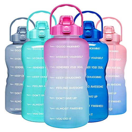 Venture Pal 1 Gallon Large Motivational Sports Water Bottle with Time Marker & Straw, Leakproof BPA Free Reusable Fitness Wat