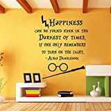 Happiness Can Be Found Even In The Darkest of Times - Vinyl Wall Decal Home Decor Dorm Nursery Teens Room Decor (Black,xs)