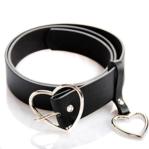 UTENEW Heart Shape Belts Wide Black Leather Waist Belt Women Jeans Pants Dresses with Alloy Buckle, Silver