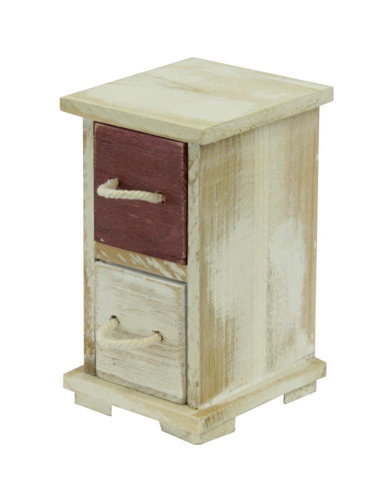 Decoline Mini-Schrank aus Holz 9 x 14.5cm - 2 Schubf/ächer