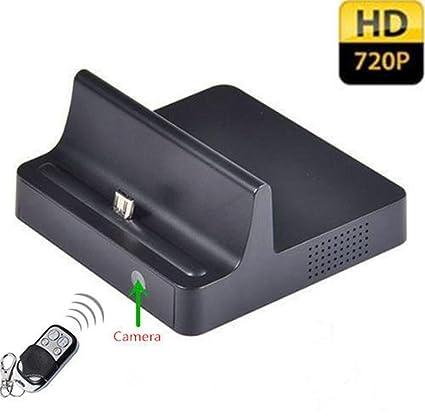 Electro-Weideworld - 720P teléfono móvil Dock cargador cámara espía movimiento activado Mini cámara oculta