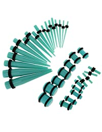 Fityle 36 Pieces Ear Taper Stretcher Expander Gauge Plugs Tappers Stretching Set 14-00G