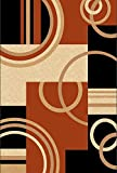 Golden Rugs Platinium Collection Hand Carved Area Rug Modern Contemporary (5'2″ X 7'5″, Black-Terra)